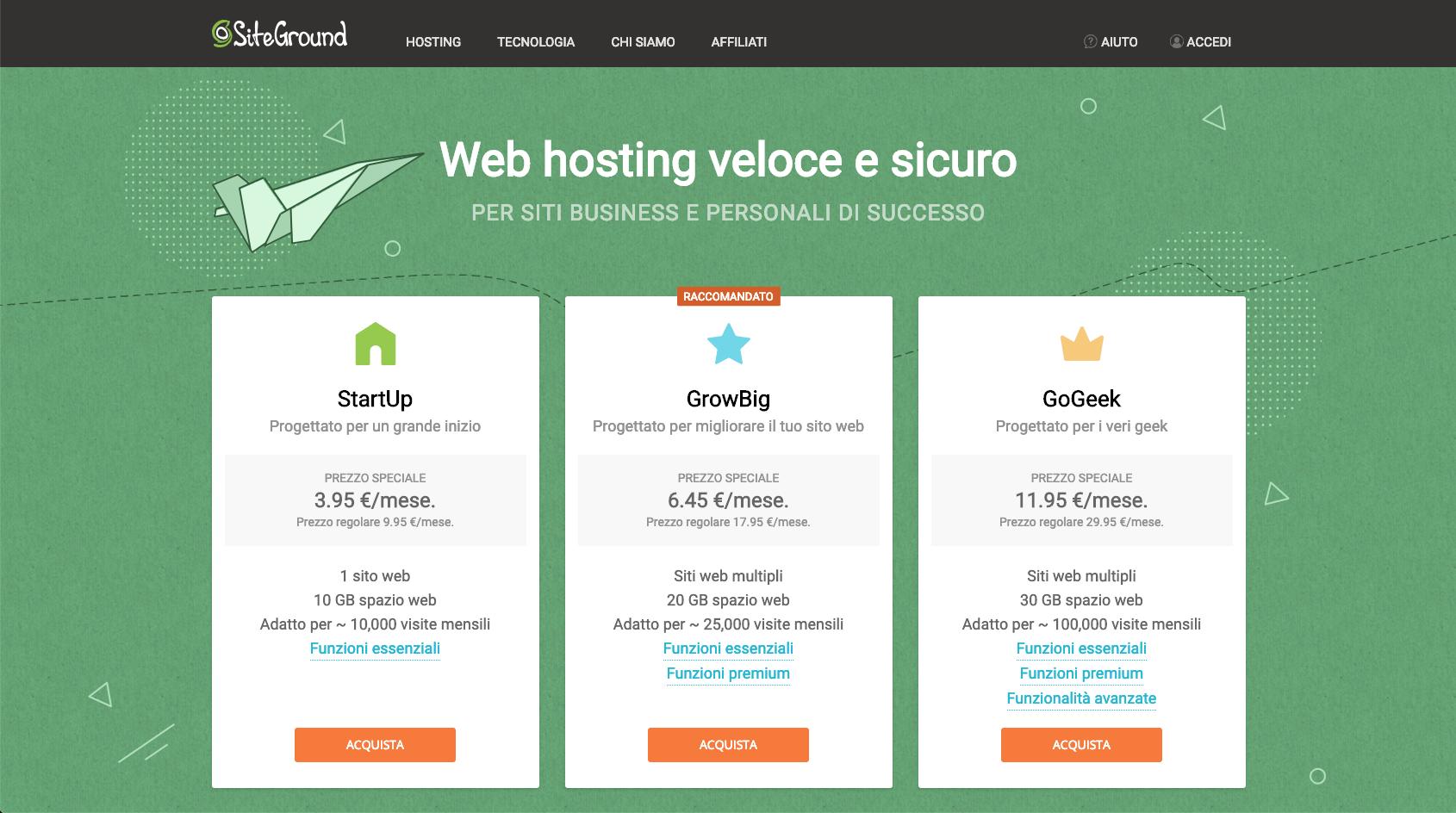 Recensione siteground hosting