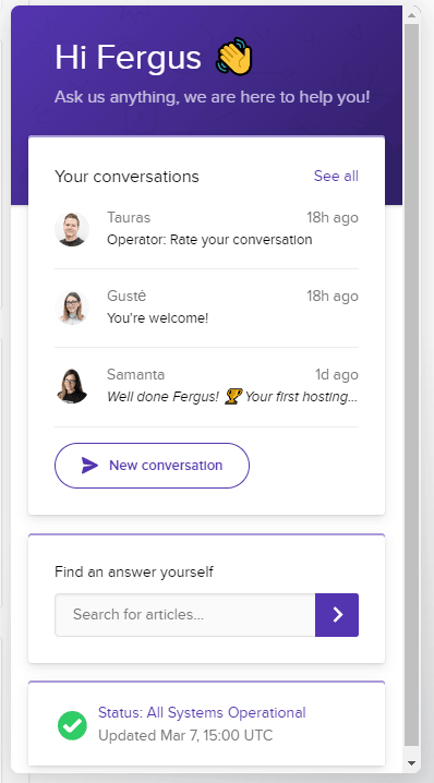 recensione hostinger live chat
